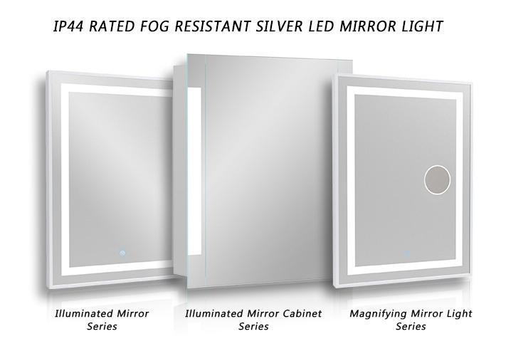 Fog Resistant Silver LED Mirror Light