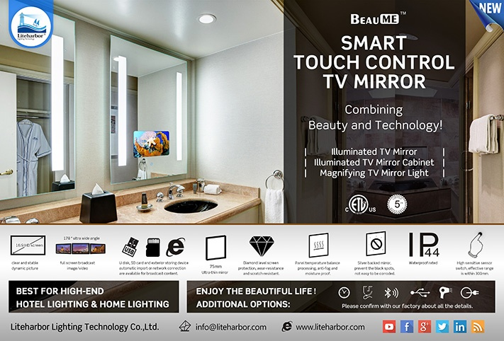 Smart Touch Control TV Mirror from Liteharbor Lighting