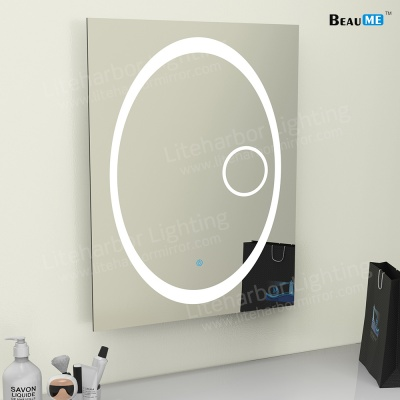 Liteharbor Frameless Customized Size LED Bathroom Mirror with Magnifier