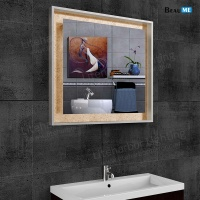 Liteharbor Square LED Lighted Mirror with Gold Backdrop