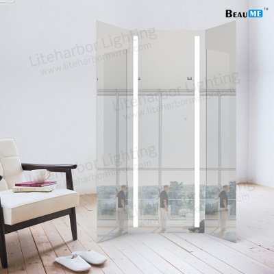 Liteharbor Customized Dimmable LED Lighted Tri-fold Mirror