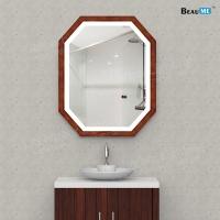 Liteharbor Customized Illuminated Mirror with Wooden Frame