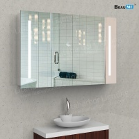 Liteharbor Bathroom Wall Illuminated Mirror with Cabinet